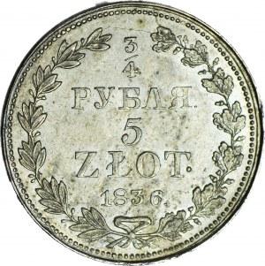Zabór Rosyjski, 5 złotych = 3/4 rubla 1836 MW, Warszawa, ok. mennicze