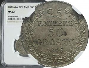 Zabór Rosyjski, 50 groszy = 25 kopiejek, 1846, Warszawa, mennicze