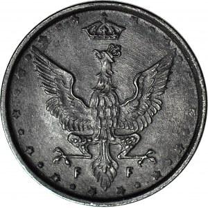 Królestwo Polskie, 10 fenigów 1917, napis blisko obrzeża