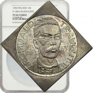 RR-, PRÓBA, KLIPA, 10 złotych Traugutt 1933, piękna