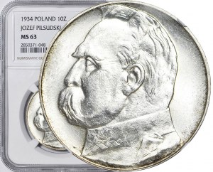 10 złotych 1934, Piłsudski, orzeł URZĘDOWY, mennicze