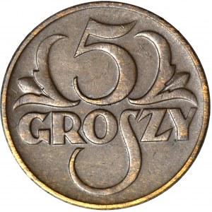 5 groszy 1934, RZADKI ROCZNIK, piękne