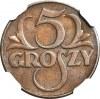 5 groszy 1935, piękne, kolor BN