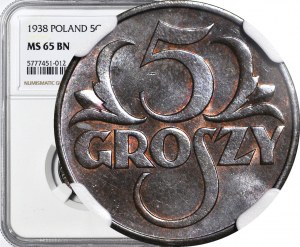 5 groszy 1938, mennicze, kolor BN