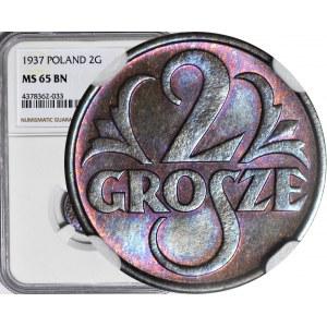 2 grosze 1937, mennicze, kolor BN