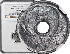 5 groszy 1939, mennicze, Okupacja