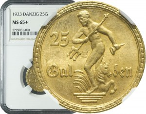 RR-, WMG 25 guldenów 1923, STEMPEL ZWYKŁY, piękne