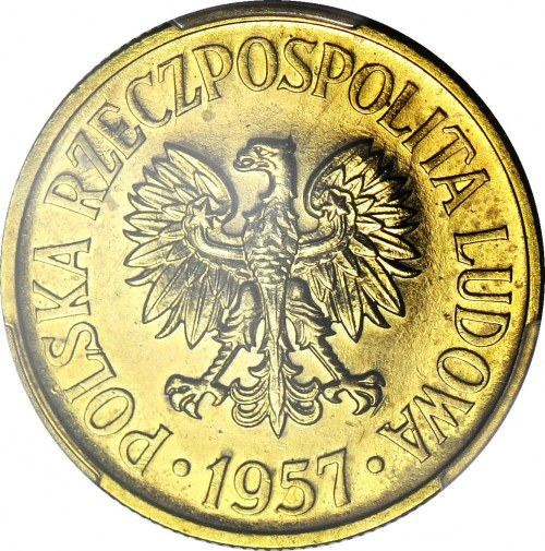 RR-, 50 groszy 1957, PRÓBA, MOSIĄDZ, nakład 100szt., rzadkość, c.a.