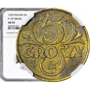 RR-, PRÓBA, 5 grosze 1923, Warszawa, mosiądz, 12/IV SW 24