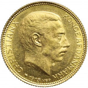 Dania, 20 Koron 1913, Christian X, piękne