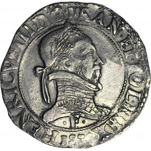 R-, Henryk Walezy, Król Polski, Frank 1578 F, Angers, piękny, z rzadkiej mennicy