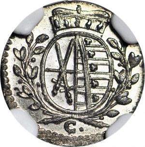 Niemcy, Saksonia, Fryderyk August III, 1 fenig 1765 C, Drezno, wyśmienity