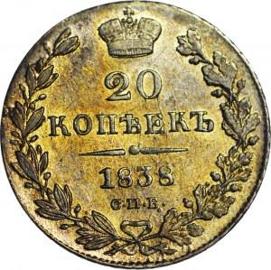 Rosja, Mikołaj I, 20 kopiejek 1838 СПБ-НГ