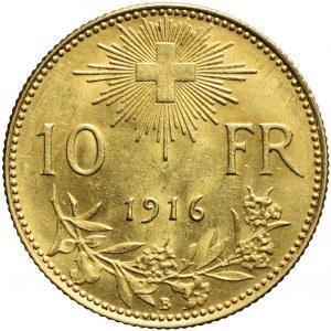 Szwajcaria, 10 franków 1916, piękne