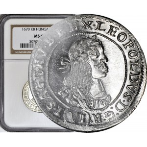 Węgry, Leopold I, 6 krajcarów 1670-KB, Kremnica, WYŚMIENITE