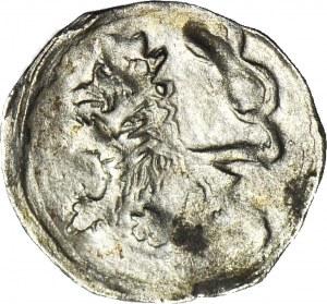 Śląsk, Jerzy z Podiebradu 1454-1462, Halerz bez daty, Lew/Orzeł, menniczy, R5, długie pióra orła