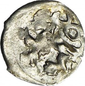 Śląsk, Jerzy z Podiebradu 1454-1462, Halerz bez daty, Lew/Orzeł, menniczy, R5, krótkie pióra orła