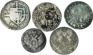 Zestaw 5 monet srebrnych polski królewskiej