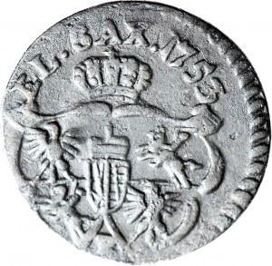RR-, August III Sas, Szeląg 1753, B, tarcze bez ozdobników