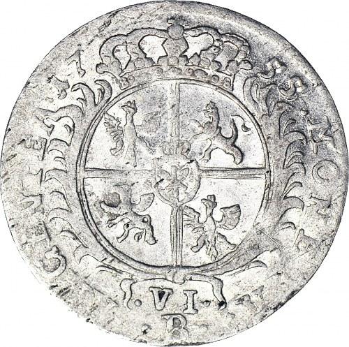 RR-, Naśladownictwo pruskie szóstaka lipskiego Augusta III, 6 krajcarów Wrocław 1755