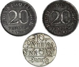 Zestaw 3 monet, 20 Fenigów 1917 i 1918 oraz WMG 10 fenigów 1923