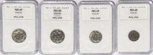 Zestaw 4 szt. 10, 20 i 50 groszy 1923