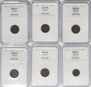 Zestaw 6 szt. 2 grosze różne roczniki (również rzadsze) i 1 grosz 1927
