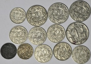 Zestaw 13 szt. 10, 20 i 50 groszy + 1 zł 1929, II RP