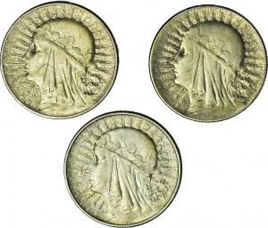 Zestaw 3 szt., 5 złotych Głowa 1932 - 1933