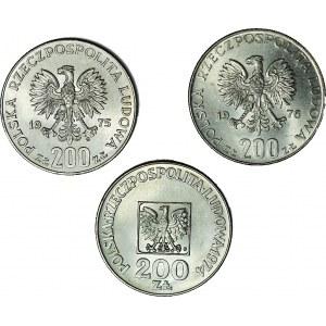 Zestaw 3 szt. 200 zł 1974-76, Faszyzm, Olimpiada, XXX lat PRL