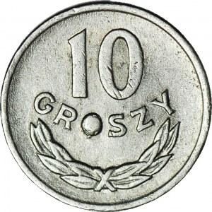 10 groszy 1965, DESTRUKT, wykruszenie stempla w