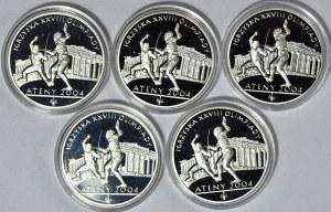Zestaw 5 szt. 10 złotych 2004, Igrzyska Olimpijskie - Ateny 2004