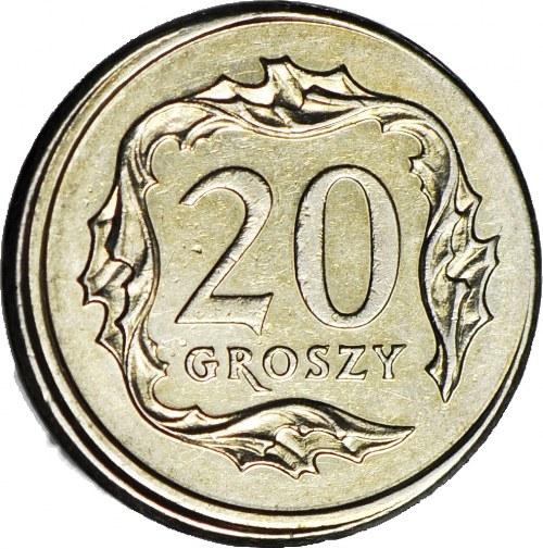 R-, 20 groszy 2009, DESTRUKT, przesunięcie bicia