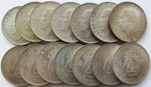 Srebro, Zestaw 40 sztuk monet Szwecja 5 koron 1952, Gustaw VI Adolf, 70 urodziny