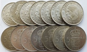 Srebro, Zestaw 100 sztuk monet Szwecja 5 koron, Gustaw VI Adolf