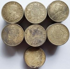 Indie Brytyjskie, Jerzy V, Zestaw 56 monet srebrnych 1 Rupia