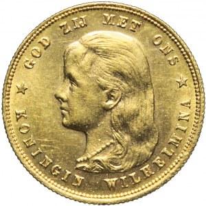Holandia, Wilhelmina, 10 guldenów 1897, wczesny typ portretu