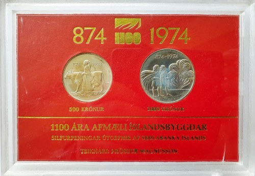 Islandia, Zestaw 500 koron i 1000 koron, 1100-lecie pierwszego zasiedlenia, 1974