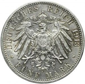 Niemcy, Badenia, Fryderyk II, 5 marek 1913 G, Fryderyk II, Karlsruhe