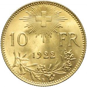 Szwajcaria, 10 franków 1922, piękne