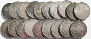 Szwecja, Zestaw 19 okolicznościowych monet srebrnych 2 korony 1897, 25-lecie panowania Oskara II