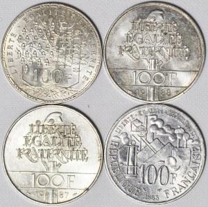 Francja, V Republika, Zestaw czterech srebrnych okolicznościowych monet 100 franków
