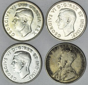 Kanada, Zestaw czterech monet srebrnych 50 centów, Jerzy V i Jerzy VI