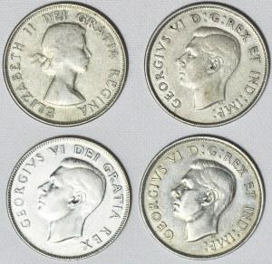 Kanada, Zestaw czterech srebrnych monet 50 centów, Jerzy VI i Elżbieta II