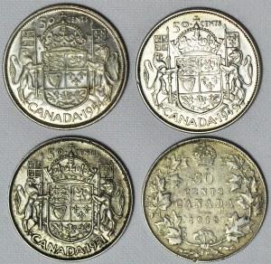 Kanada, Zestaw czterech monet srebrnych 50 centów, Jerzy V, Jerzy VI i Elżbieta II