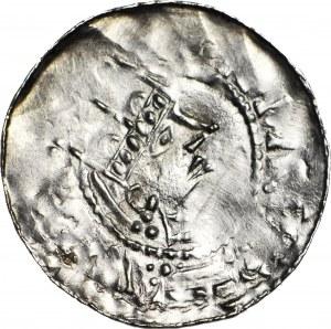 Niemcy, Esslingen, Henryk II 1002-1024, denar, gwiazdka/trzy kropki