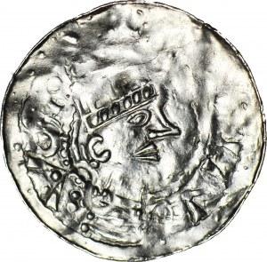 Niemcy, Esslingen, Henryk II 1002-1024, denar, kółeczko i dwie kropki/cztery kropki