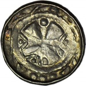 Denar krzyżowy XIw, pastorał/krzyż maltański