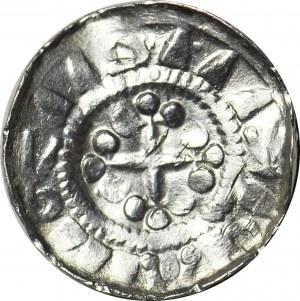 Denar krzyżowy XIw, krzyż z kulami/krzyż, pseudolegenda