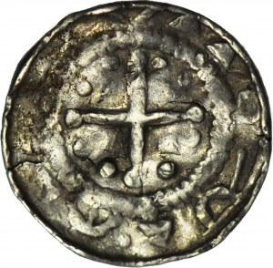 Denar krzyżowy XIw., odmiana z dwiema kulami pomiędzy ramionami krzyża